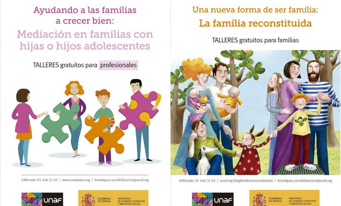 Cartel de las primeras jornadas profesionales del Observatorio FIEX y varias estrategias de participación infantil: Mediación en familias con hijas o hijos adolescentes (Talleres gratuitos para profesionales) y La familia reconstituida (Talleres gratuitos para familias)