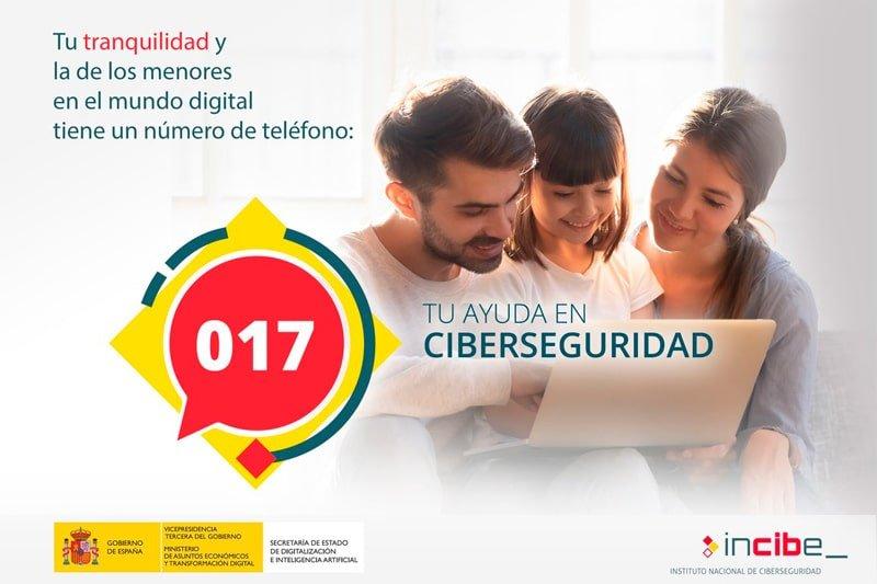 Teléfono de ayuda en Ciberseguridad de INCIBE: 017